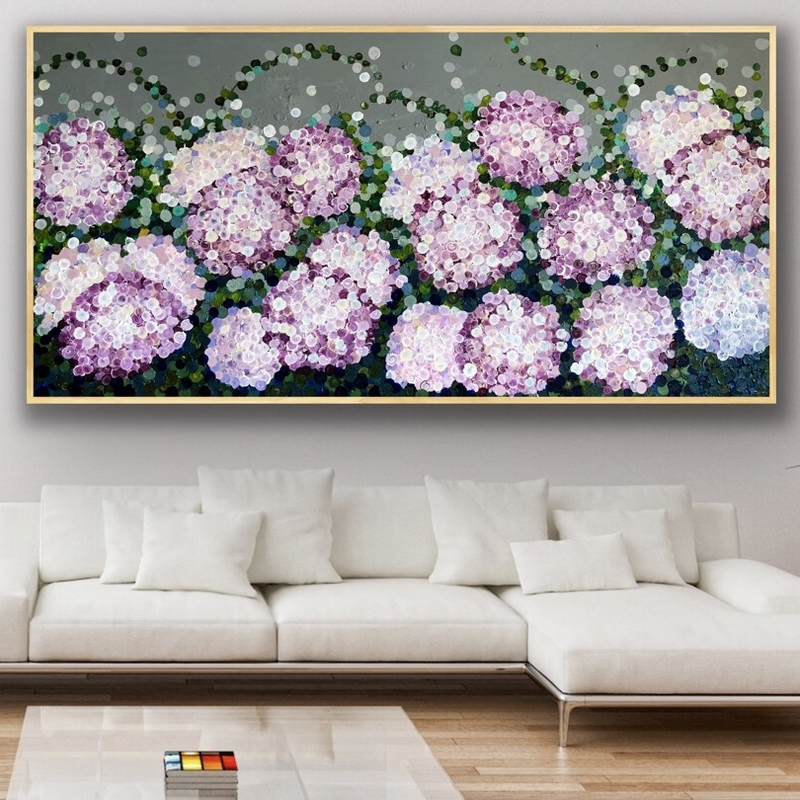 (CreativeWork) Queen of the night pink hydrangea  183x93framed large textured abstract hydrangeas  by Sophie Lawrence. Acrylic Paint. Shop online at Bluethumb.