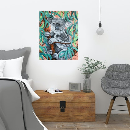 (CreativeWork) Koala mum with joey by Irina Redine. Acrylic Paint. Shop online at Bluethumb.