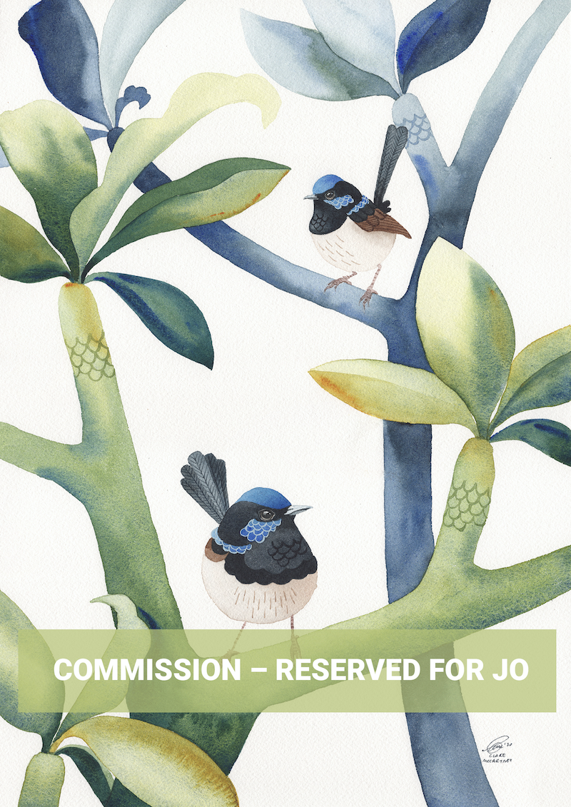 (CreativeWork) Commission – Reserved for Jo by Clare McCartney. Watercolour Paint. Shop online at Bluethumb.