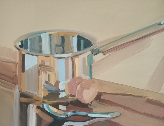 (CreativeWork) Egg, spoon and saucepan by Ella Holme. Oil Paint. Shop online at Bluethumb.