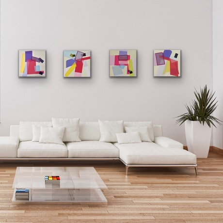 (CreativeWork) Abstract Letter series 'ラルホガ' - set of 4 by Letter allsorts. Acrylic Paint. Shop online at Bluethumb.