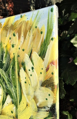 (CreativeWork) Be Your Sunshine - Sunflowers - Award winning artwork  by HSIN LIN. Acrylic Paint. Shop online at Bluethumb.