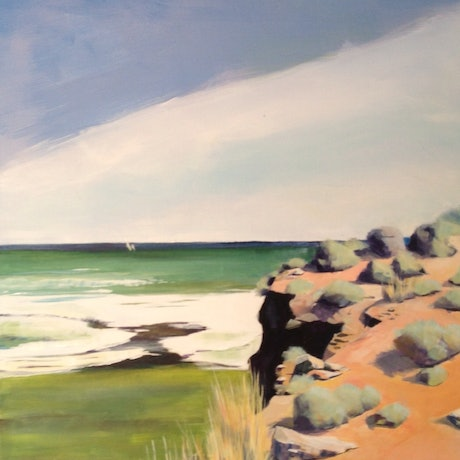 (CreativeWork) DIMMOCKS BEACH  by Paul Harbour. Acrylic Paint. Shop online at Bluethumb.