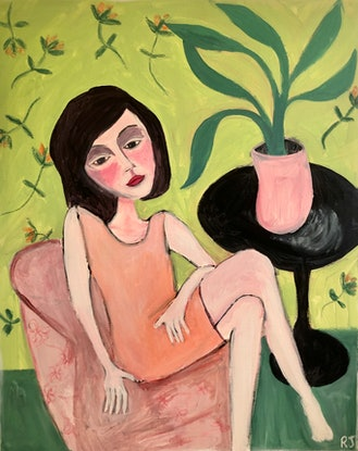 (CreativeWork) Girl In Orange  by Rebecca James. Acrylic. Shop online at Bluethumb.
