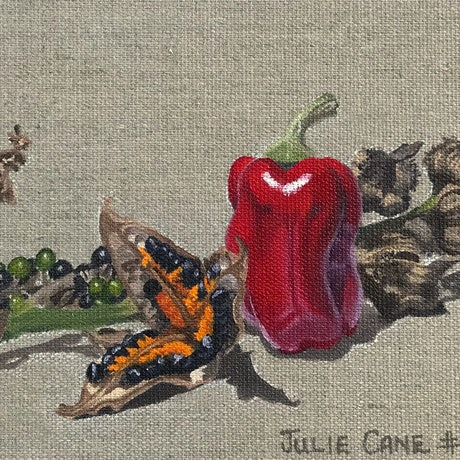 (CreativeWork) Garden Treasures #96 100 Days project by Julie Cane. Oil. Shop online at Bluethumb.