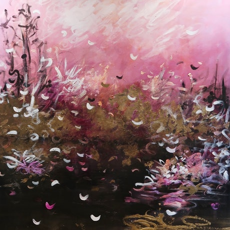 (CreativeWork) Golden Oasis by Maria Cross. Acrylic Paint. Shop online at Bluethumb.