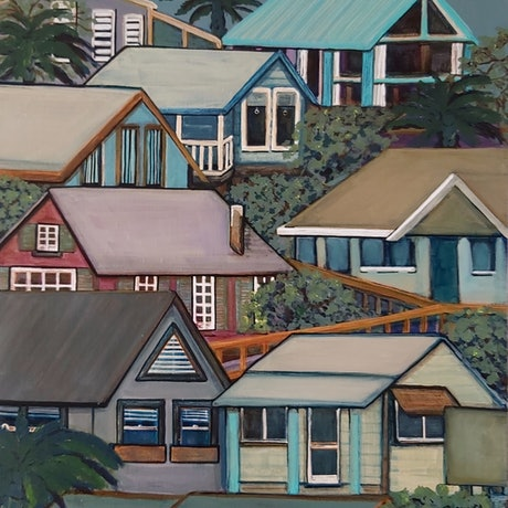 (CreativeWork) Coastal Town NSW by Penny Ross. Acrylic Paint. Shop online at Bluethumb.