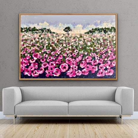 (CreativeWork) Pink poppy 153x102 framed large textured abstract landscape by Sophie Lawrence. Acrylic Paint. Shop online at Bluethumb.
