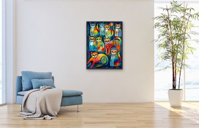 (CreativeWork) Nine  Pussicats by Karin Zeller. Acrylic Paint. Shop online at Bluethumb.