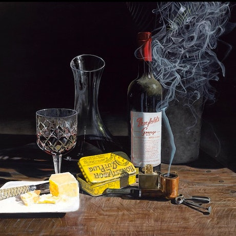(CreativeWork) Penfolds Grange by Lew Brennan. Oil Paint. Shop online at Bluethumb.