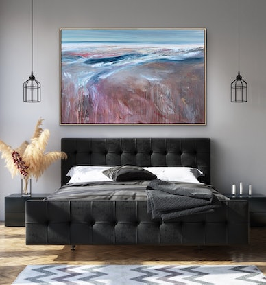 (CreativeWork) Bronze Tide 150x110cm Large Abstract Landscape by Tania Chanter. Acrylic Paint. Shop online at Bluethumb.