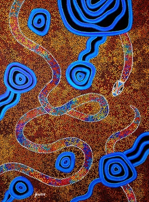 (CreativeWork) Rainbow Serpent by T'keyah Ware. Acrylic Paint. Shop online at Bluethumb.