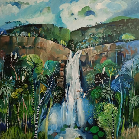(CreativeWork) Abstract Landscape - Falling Water by Susan Trudinger. Acrylic Paint. Shop online at Bluethumb.