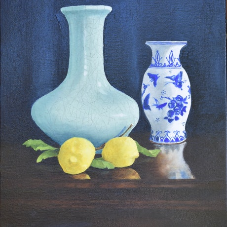 (CreativeWork) Still life #2 by John Barcham. Oil Paint. Shop online at Bluethumb.