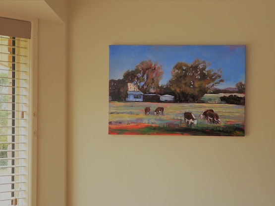 (CreativeWork) Farmhouse On the Darling Downs. by Lyn Watts. Acrylic Paint. Shop online at Bluethumb.