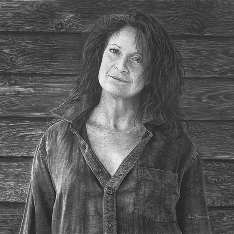 (CreativeWork) Portrait Of A Country Woman by Lew Brennan. Drawings. Shop online at Bluethumb.
