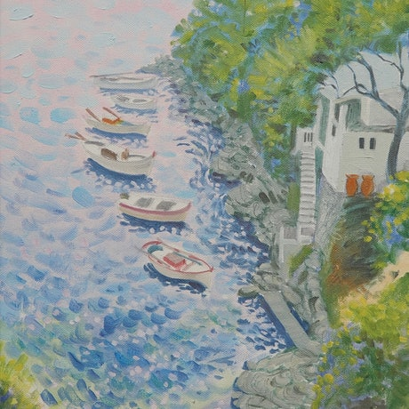 (CreativeWork) Haven, Greek Isles by Lance Ross. Oil Paint. Shop online at Bluethumb.
