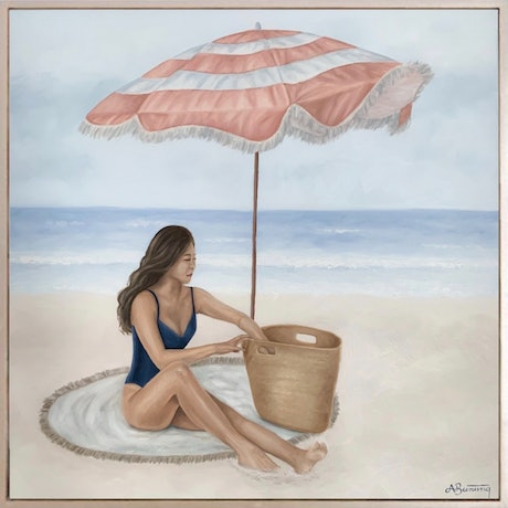 (CreativeWork) Beach Babe by Ashley Bunting. Oil Paint. Shop online at Bluethumb.