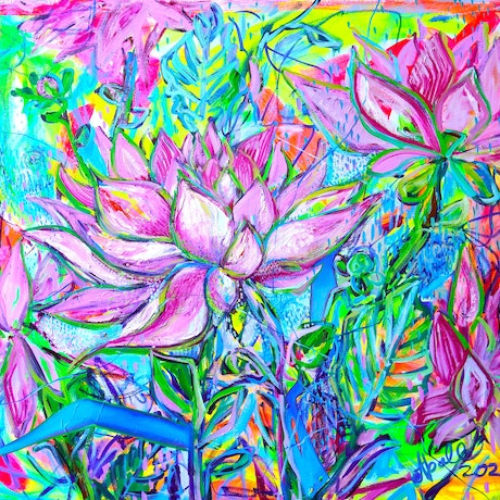 (CreativeWork) Dahlias by Katerina Apale. Oil Paint. Shop online at Bluethumb.