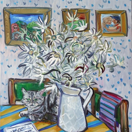 (CreativeWork) Flannel flowers and the cat by Katerina Apale. Oil Paint. Shop online at Bluethumb.