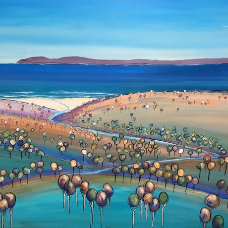 (CreativeWork) Across the bay by Ron Brown. Acrylic Paint. Shop online at Bluethumb.