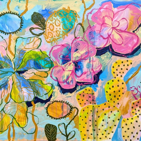 (CreativeWork) Fiddle Leaf Fig in the Poppy Garden by Marinka Parnham. Acrylic Paint. Shop online at Bluethumb.