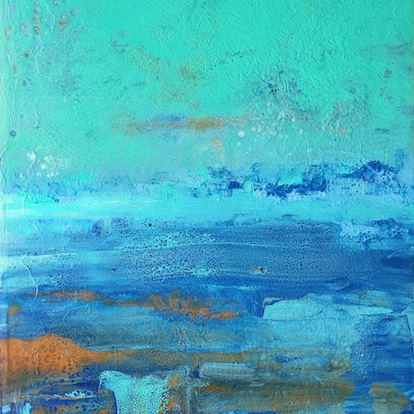 (CreativeWork) Jade Coloured Sky by Brigitte Ackland. Acrylic Paint. Shop online at Bluethumb.