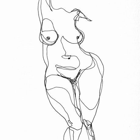 (CreativeWork) Don't Let Go - Shape of a woman by Irma Calabrese. Drawings. Shop online at Bluethumb.