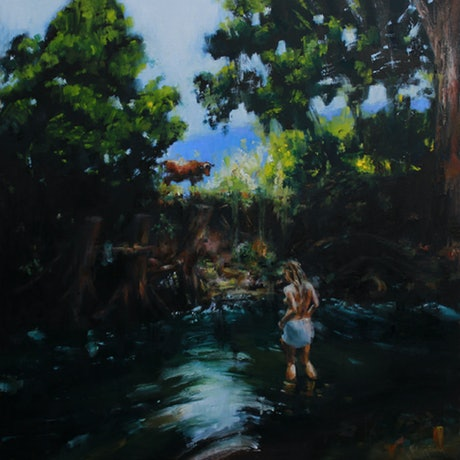"""(CreativeWork) """"Bathing in the Gloaming"""" by Kathryn Fenton. Oil. Shop online at Bluethumb."""