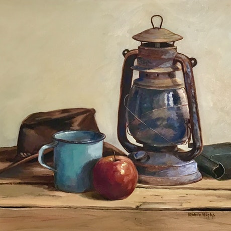 (CreativeWork) Tea Break by Robin Hicks. Oil Paint. Shop online at Bluethumb.
