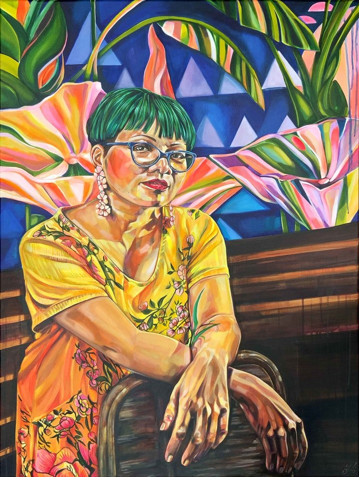 (CreativeWork) Maggie with my Cafe Omai Mural by Tamara Armstrong. Acrylic Paint. Shop online at Bluethumb.