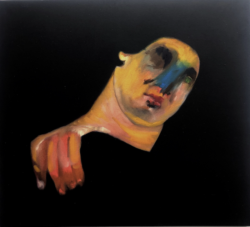 (CreativeWork) Untitled (Blue Nose) by Lisa Kotoulas. Oil Paint. Shop online at Bluethumb.