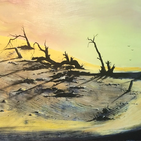 (CreativeWork) Dead trees in the dunes by Geoff Lugg. Acrylic Paint. Shop online at Bluethumb.
