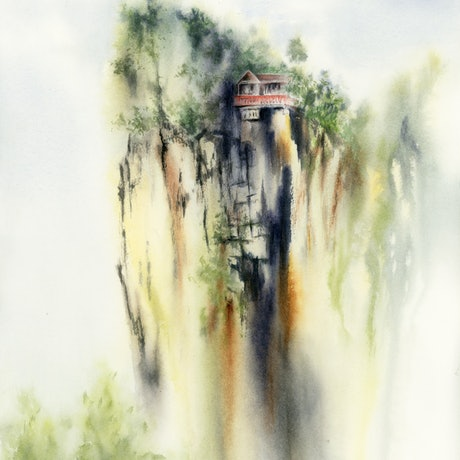 (CreativeWork) The Precipice by Cecilia Xiao. Watercolour Paint. Shop online at Bluethumb.