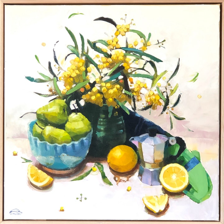 (CreativeWork) Still life with wattle and coffeepot by kirsty mcintyre. Oil Paint. Shop online at Bluethumb.