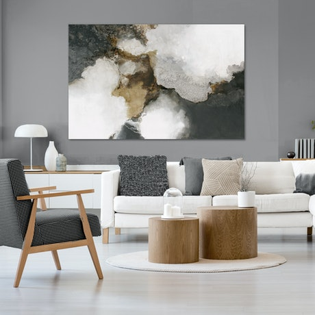 (CreativeWork) Tempest - very large, grey, brown, gold abstract  by Stephanie Laine. Acrylic Paint. Shop online at Bluethumb.