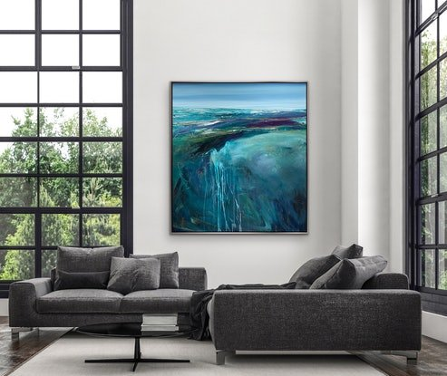 (CreativeWork) Secret Cove 91 x 101cm Large Abstract Landscape  by Tania Chanter. Acrylic Paint. Shop online at Bluethumb.
