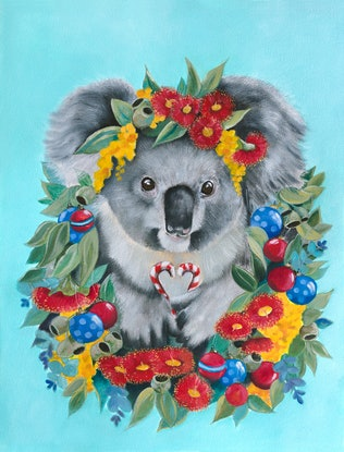 (CreativeWork) Christmas Koala wreath in Blue - Print   Ed. 1 of 200 by Mia Laing. Print. Shop online at Bluethumb.