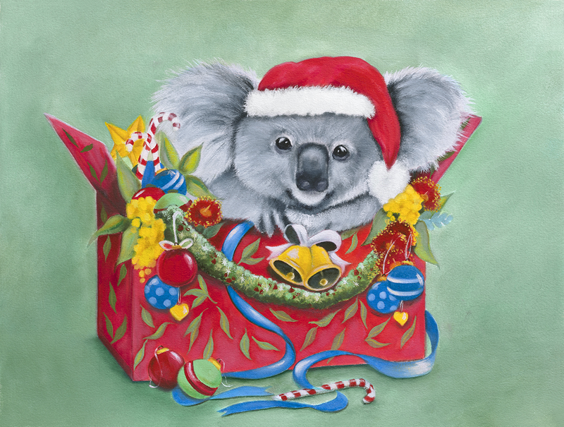 (CreativeWork) Christmas Koala Gift Wrapped - Print   Ed. 1 of 200 by Mia Laing. Print. Shop online at Bluethumb.