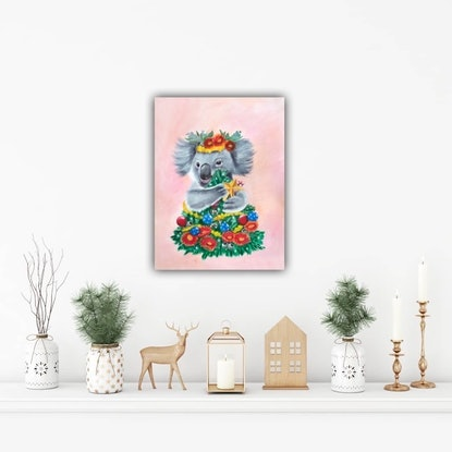 (CreativeWork) Christmas Koala in Pink - Print   Ed. 1 of 200 by Mia Laing. Print. Shop online at Bluethumb.
