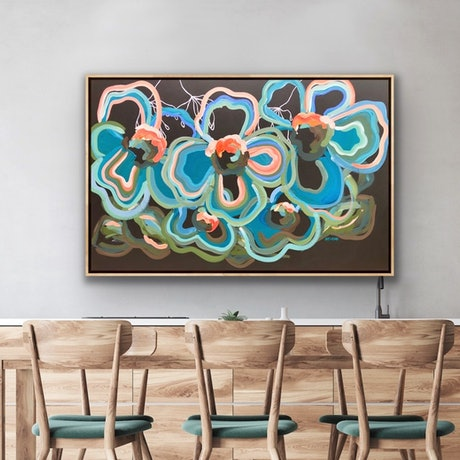 (CreativeWork) Blue Botanica - Abstract Flowers Teal Turquoise - Extra Large Big size 140 x 90 cm by Jen Shewring. Acrylic Paint. Shop online at Bluethumb.