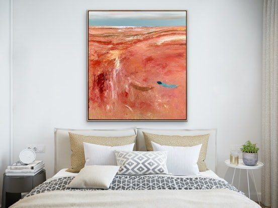 (CreativeWork) Lost Love 91x101cm Large Abstract Landscape by Tania Chanter. Acrylic Paint. Shop online at Bluethumb.