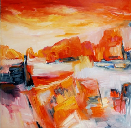 (CreativeWork) Late in the Day by Jenny Hines. Oil Paint. Shop online at Bluethumb.