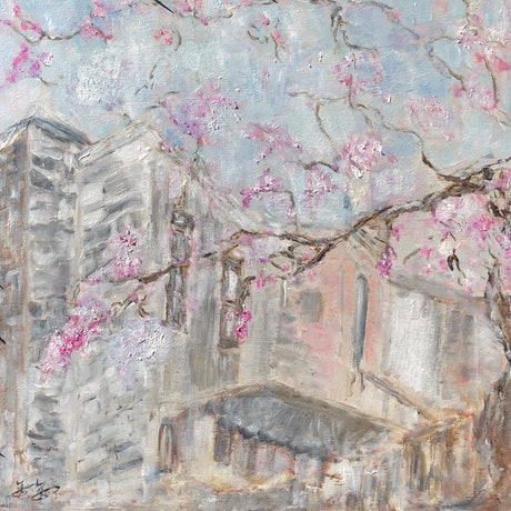 (CreativeWork) Jacaranda in front of the window by jin Jin. Acrylic Paint. Shop online at Bluethumb.