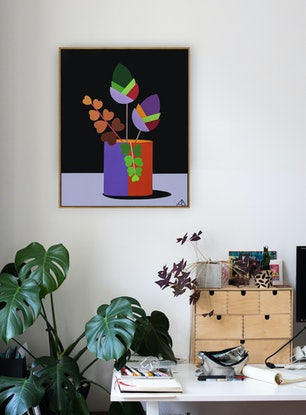 flowers and fern in vase