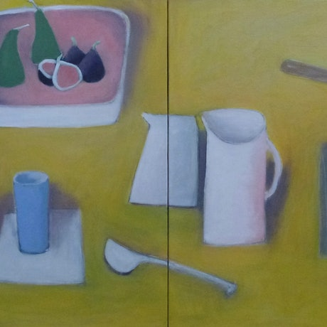 (CreativeWork) Two White Jugs and Figs by mary DONNELLY. Acrylic Paint. Shop online at Bluethumb.