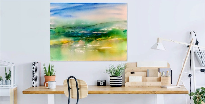 (CreativeWork) Crisp and thoroughly Green by Grace Bardini. Watercolour Paint. Shop online at Bluethumb.