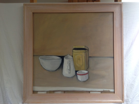 (CreativeWork) Red Stripe by mary DONNELLY. Oil Paint. Shop online at Bluethumb.