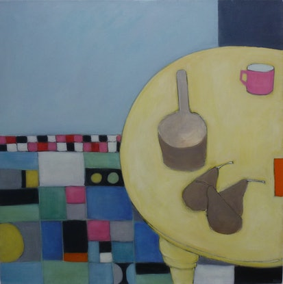 (CreativeWork) Pink Cup, Orange Strip and 3 Brown Pears by mary DONNELLY. Acrylic Paint. Shop online at Bluethumb.
