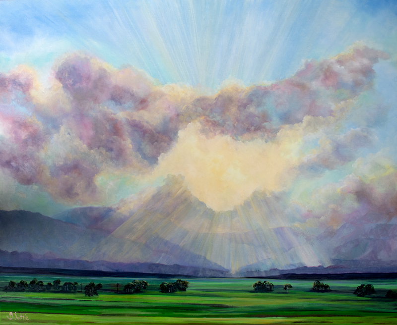 (CreativeWork) Sun rays by Barbara Suttie. Oil Paint. Shop online at Bluethumb.